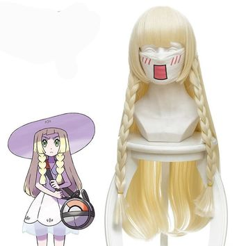 "2018 New Japanese Game  Sun Moon Lillie Cosplay Wig 80 cm 31.5"" Long Straight Anime Wig Synthetic Hair Braided GoldKawaii Pokemon go  AT_89_9"