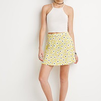 Textured Daisy Print Skirt