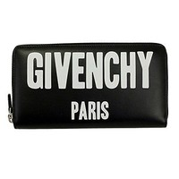 GIVENCHY BLACK LEATHER W/LOGOS ZIP AROUND LONG WALLET BC06340 777