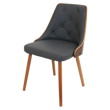 Walnut Grey Upholstered Mid-Century Modern Side Chair