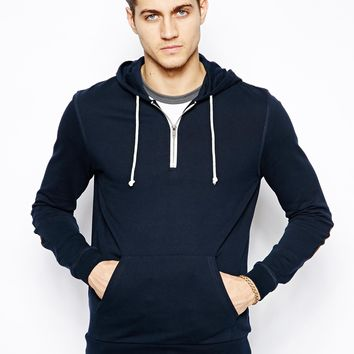 ASOS Hoody With Half Zip And Cord Elbow Patches