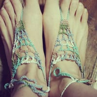 Handmade Crochet Barefoot Sandals, Hippie Foot Thongs, Crochet Accessories, Bridal, Bridesmaids, Summer, Beach