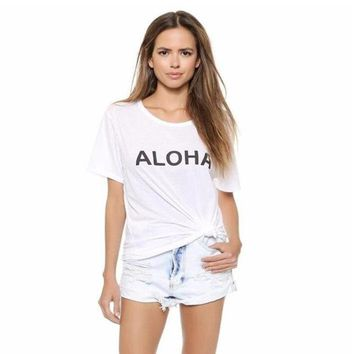 Hipster Women Tshirt aloha Slogan Tee Shirt Cotton Casual Tops Women Tee Shirt Femme Harajuku Tumblr Clothing
