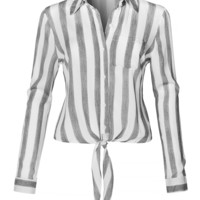 LE3NO Womens Long Sleeve Button Down Striped Crinkled Self Tie Blouse Shirt
