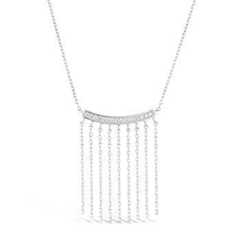 "Sterling Silver Bar with Fringe Pendant Necklace Cubic Zirconium 18"" Chain"