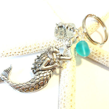 Mystical Mermaid Keychain, Aqua Sea Glass Key Chain, Dreaming of the Sea Charm Keychain, Beach Inspired Gift Idea, Cute Car Accessory