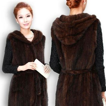 New Genuine knitted mink fur vest hooded mink fur vest warm winter fur coat