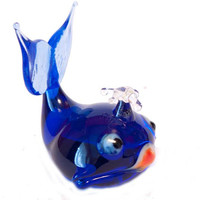 Glass Whale Hand-Blown Collectible Figurine  (code 070)