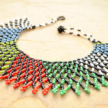 Ethnic African jewellery,Beaded African Collar necklace,South African beadwork,Statement necklace,Traditional African fashion