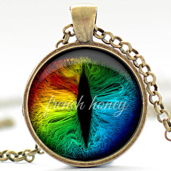 Rainbow Cat Eye Necklace, Cat Eye Jewelry, Evil Eye Charm, Eyeball Pendant (1362)