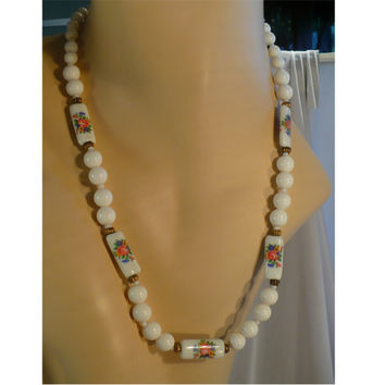 Vintage Long White Porcelain Necklace, Hand-Painted Flowers, White Lucite Beads