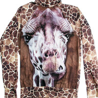 Giraffe Animal Print Mock Neck Top