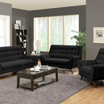 Coaster 503774-75 2 pc natalia collection black chenille fabric upholstered sofa and love seat set with high back tufted seat and backs