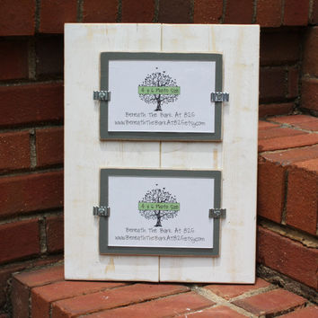 Picture Frame - Double 4x6 - Distressed Wood - White & Gray