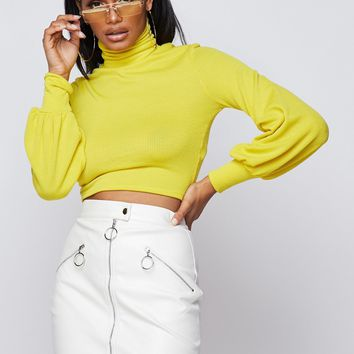 Snuggle Turtleneck Top Yellow