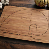 Fibonacci Spiral, Custom Geekery Engraved Bamboo Cutting Board w/ Einstein quote, Graduation Gift for Science Student or Teacher
