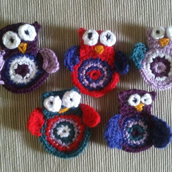 Owl Crochet Applique Pattern PDF - baby, girl, teen, or woman accessories - Instant DOWNLOAD