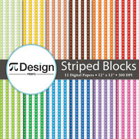 "Striped Building Blocks 12""x12"" Digital Paper 12 Pack 