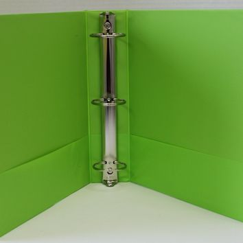 "1.5"" Basic 3-Ring Binder w- Two Inside Pockets - Lime - CASE OF 12"