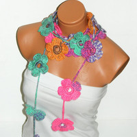 Hand made crochet colorful  Flower Lariat Scarf. Fashion Flower Scarves, Necklace...  Multicolor lariat scarf for spring