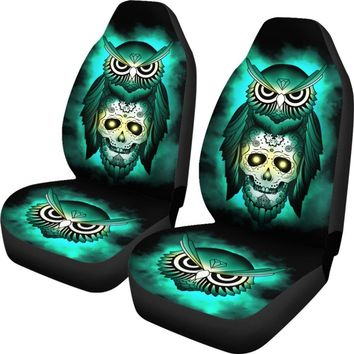 Owl Car Seat Covers - Owl & Skull Universal Fit Green Car Seat Cover