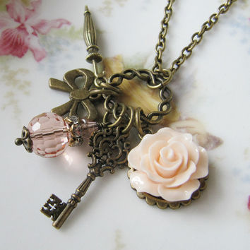Vintage style flower necklace - charms - handmade -  charm necklace - for her - peach necklace - romantic jewelry