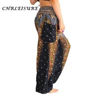 CHRLEISURE Women Harem Pants Plus Size Bohemian High Waist Pants Fashion Boho Printed Trousers Women Elastic Waist Pant