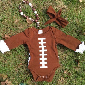 Girls Football Onesuit, Personalized Baby Girl Football Onesuit, Girls Football Outfit, Toddler Girl Football Onesuit, Chunky Football Necklace