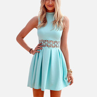 Light Blue Sleeveless High Neck Slim Waist Lace Dress