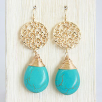 Turquoise Coiled Marble Earrings - Earrings