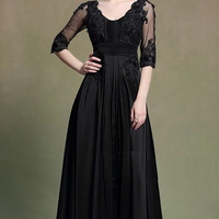 Empire Lace Black Gown