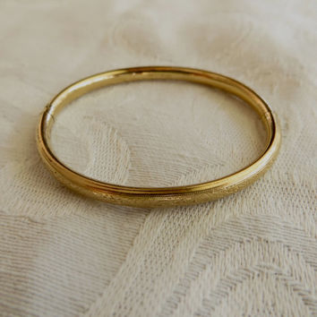 Baby Bangle Bracelet, Gold Filled, Vintage Etched Hearts, Baby Bracelet, Christening Baby Girl, New Baby Gift, Toddler Birthday