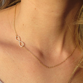 Infinity gold necklace - Dainty gold necklace, Tiny infinity necklace, Gold infinity pendant, Gold jewelry, Delicate sideways necklace