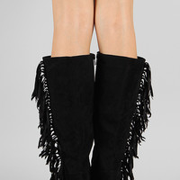 Breckelle Havana-11 Fringe Round Toe Knee High Wedge Boot