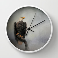 High Perch - Bald Eagle - Wildlife Wall Clock by Jai Johnson