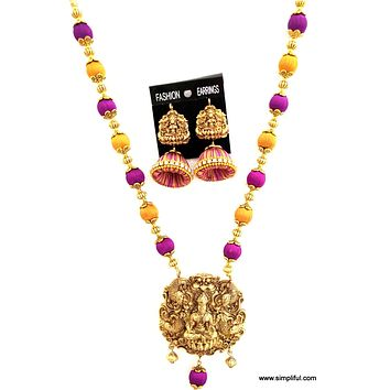 Traditional Silk Thread Lakshmi Necklace and Earring set