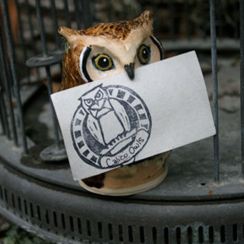 Kingsley the Great Horned Post Owl Business Card Holder