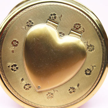 Powder Compact, Kigu Compact, Vintage Locket, Photo Locket, Vintage Mirror, Floral Pattern, Heart, Something Old, Handbag Mirror - 1970's