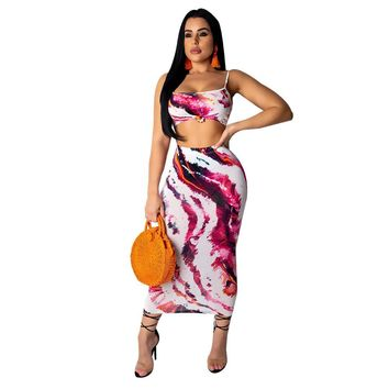 2019 New Sexy Club Two Piece Summer Outfits for Women Clothes Crop Top and Maxi Skirt Set Bodycon 2 Piece Dress Matching Sets