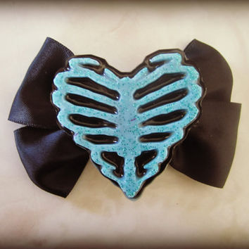 Ribcage Skeleton Heart Haunted Hair Candy Bow Clip