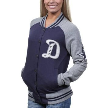 Dallas Cowboys Ladies Grenadiers Full Button Letter Jacket - Navy Blue/Silver