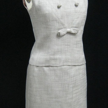 Vintage 60's MAD MEN Era 2pc DRESS Tailored Secretary Outfit Top + Skirt  Bust 39""