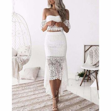 Two piece set Off shoulder lace crop tops Mermaid skirt suit 2018 Summer fashion Ankle-Length skirts Ruffle skirt sexy top suits