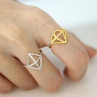 Adjustable 3D Chic Rhombus Ring Cutout Ring - available color as listed( Gold, Silver, Antique Black)