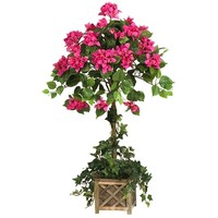 SheilaShrubs.com: Bougainvillea Topiary w/Wood Box 5227 by Nearly Natural : Artificial Flowers & Plants