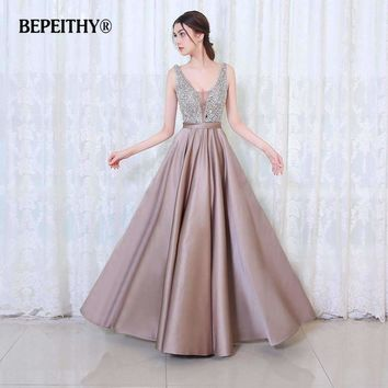 V-Neck Beads Bodice Open Back A Line Long Evening Dress Party Vestido Fast Shipping Gowns