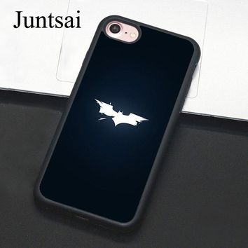 Batman Dark Knight gift Christmas Juntsai Batman Logo Phone Case For Apple iPhone 8 7 Plus 6 6s 5 5s SE Hard PC+TPU Cases Back Cover Capa For iPhone X AT_71_6