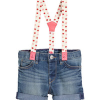 Denim Shorts with Suspenders - from H&M
