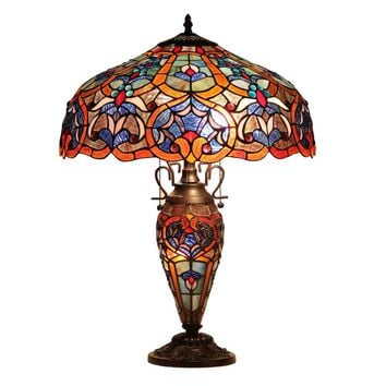"SADIETiffany-style 3 Light Victorian Double Lit Table Lamp 18"" Shade"