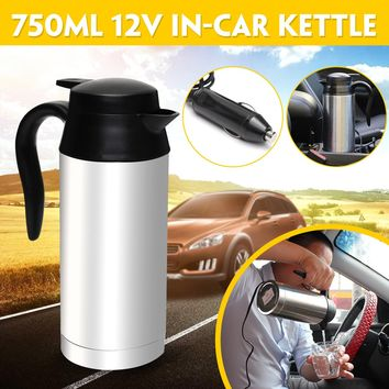 12V 750ml Electric Kettle Stainless Steel In-Car Travel Trip Coffee Tea Heated Mug Motor Hot Water For Car Or Truck Use 87x220mm